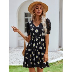 Floral Print Sheer Lace Puff Sleeve Dress
