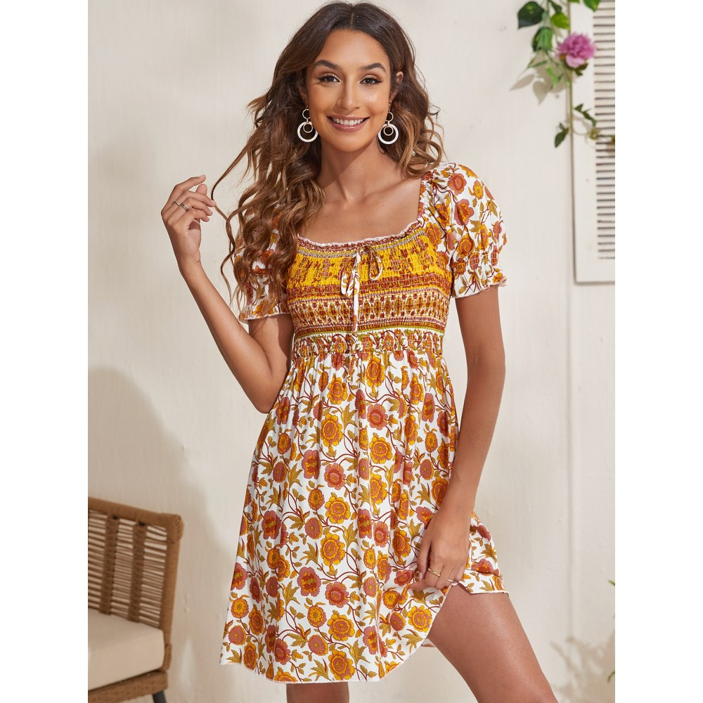 Floral Shirred Puff Sleeve Dress