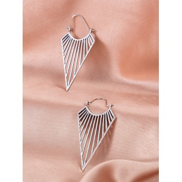 Hollow Out Triangle Design Hoop Earrings