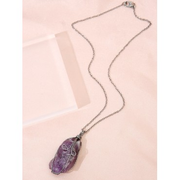 Natural Stone Charm Necklace